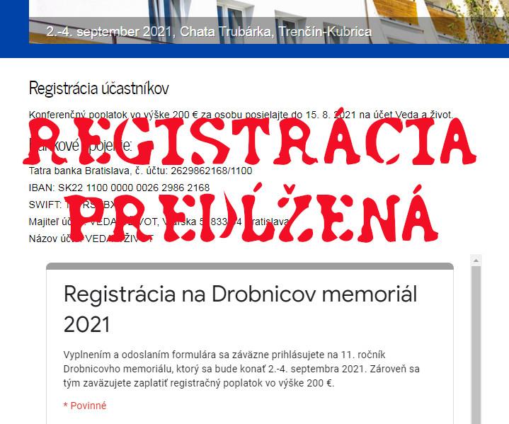 Registrácia predĺžená do 7.8.2021